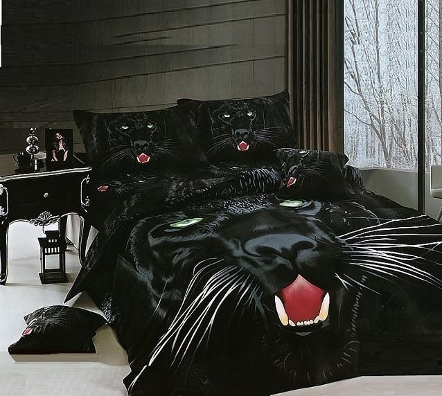 b0ba6dd821beb3 Pościel 200x220 Satyna Bawełniana Czarna Puma | Idealna Na Prezent Rozmiar Pościeli  200x220 [6cz]